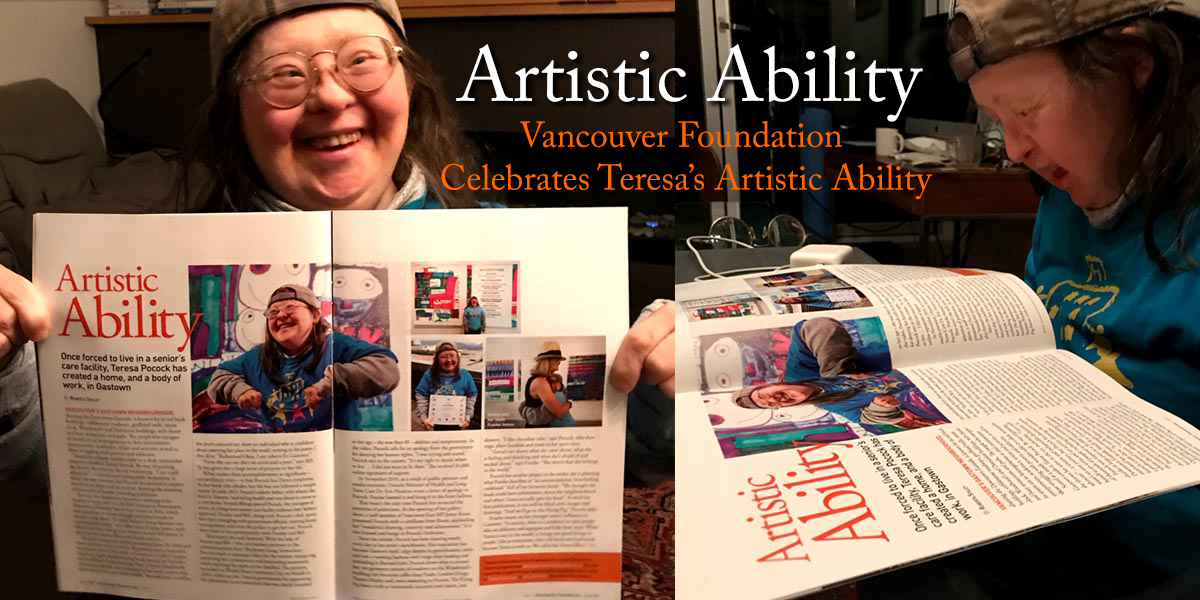Vancouver Foundation Celebrates Teresa Pocock's Artistic Ability During Canadian Down Syndrome Week!